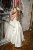 Princess in a white dress in the palace Stock Image
