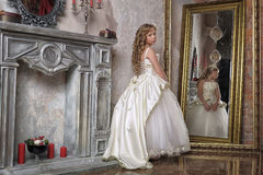 Princess in a white dress in the palace Royalty Free Stock Photo