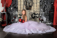 Princess in a white dress. Retro child Royalty Free Stock Photography