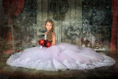 Princess in a white dress. Retro child Royalty Free Stock Image