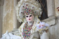 The princess of white dressed, elente ready for the party. One of the most beautiful carnivals in the world in the city, Venice, the most beautiful in the world Stock Photography