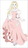 Princess and wind. The princess in pink dress and bow, with the hair flying downwind Stock Images