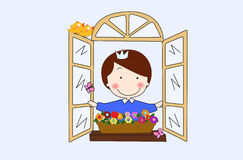 Princess at window. A cute princess look out of window Royalty Free Stock Photos
