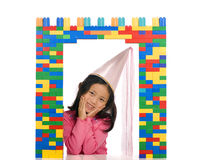 Princess in the window. A young asian girl pretending to be a princess Stock Images