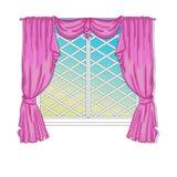 Princess Window With Curtains Royalty Free Stock Photos