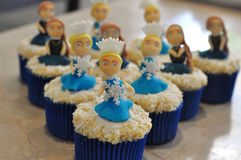 Princess winter cupcakes. Homemade winter cupcakes decorated with princesses Stock Images