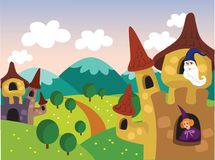 Princess and Witches on the Castle Vector Illustration. For any purpose such as book cover or illustration, website, blog, print on canvas, carpet, textile and Royalty Free Illustration