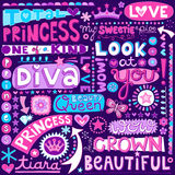 Princess Word Doodles Beauty Pagent Vector Illustr. Princess Fairy Tale Diva Word Doodles Beauty Pagent Vector Lettering Illustration Stock Photos