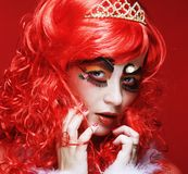Princess z jaskrawym czerwonym włosy Zdjęcia Stock