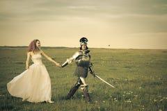 Princesse Bride et son chevalier/rétro type Photo libre de droits
