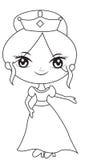 Princesse dans une page de coloration de robe Image libre de droits