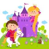 Princesse de conte de fées de Rapunzel au château et prince montant un cheval illustration stock
