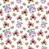 Princesse de petite fille Seamless Background avec le château, entraîneur et papillon Image libre de droits