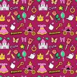 Princesse de petite fille Seamless Background avec le château, entraîneur, papillon et couronne Photo stock
