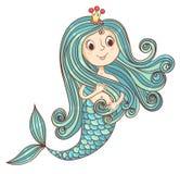 Princesse de sirène d'isolement sur le blanc Photographie stock libre de droits
