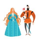 Princesse et prince avec une fleur Personnages de dessin animé drôles dans des costumes historiques Photos libres de droits