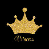 Princesse Golden Glossy Background avec l'illustration de vecteur de couronne Illustration Stock