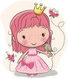 Princesse mignonne de conte de fées et un oiseau illustration libre de droits