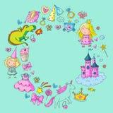 Princesse mignonne Icons a placé avec la licorne, jardin d'enfants d'invitation de fête de naissance de papier peint de fille de  Images libres de droits