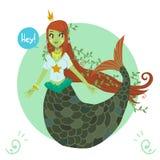 Princesse mignonne plate de sirène de bande dessinée de vecteur Photographie stock libre de droits