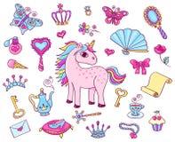 Princesse mignonne réglée avec la licorne Photographie stock libre de droits