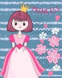 Princesse mignonne sur le fond de fleur Images libres de droits