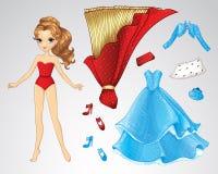Princesse rouge de papier Doll Image stock