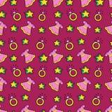 Princesse Seamless Background de petite fille avec la robe, les étoiles et les anneaux roses Image libre de droits