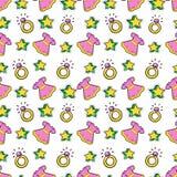 Princesse Seamless Background de petite fille avec la robe, les étoiles et les anneaux roses Photographie stock libre de droits