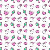 Princesse Seamless Background de petite fille avec les coeurs, le parfum et le miroir roses Photographie stock libre de droits