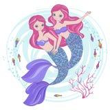 Princesse tropicale Vector Illustration Set de bande dessinée de SOEURS de SIRÈNE image libre de droits