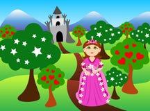 Princessen och slottet landskap Royaltyfri Bild