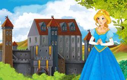 The princesses - castles - knights and fairies - Beautiful Manga Girl - illustration for the children Royalty Free Stock Images