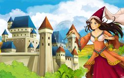 The princesses - castles - knights and fairies - Beautiful Manga Girl - illustration for the children. The happy and colorful illustration for the children Stock Photography