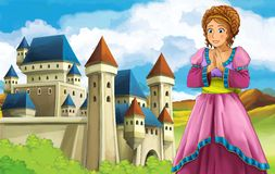 The princesses - castles - knights and fairies - Beautiful Manga Girl - illustration for the children. The happy and colorful illustration for the children Royalty Free Stock Photo