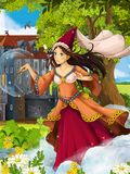 The princesses - castles - knights and fairies - Beautiful Manga Girl - illustration for the children. Happy and colorful illustration for the children Royalty Free Stock Image