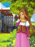 The princesses - castles - knights and fairies - Beautiful Manga Girl - illustration for the children. The happy and colorful illustration for the children Royalty Free Stock Image