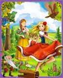 The princesses castles - knights and fairies - Beautiful Manga Girls - illustration for the children. The happy and colorful illustration for the children Stock Photo