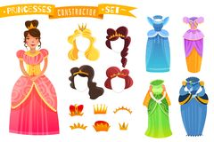 Princesses Constructor Set. With isolated colorful elements of clothes hairdo and crowns cartoon vector illustration stock illustration
