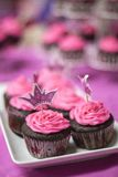 Princesses Love Chocolate Cupcakes. Vibrantly frosted pink, chocolate cupcakes adorn the table for the perfect princess birthday party Stock Image