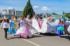 Princesses on parade at Christmastime. Rotorua, New Zealand royalty free stock photo