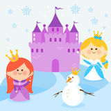 Princesses in a snowy landscape with a castle and a snowman Stock Image