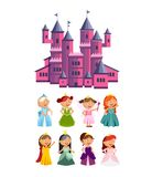 Princesses vector set cute collection of beautiful characters. Adorable elegance style little fairy girls with pink Royalty Free Stock Image