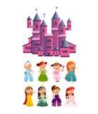 Princesses wektoru ustalona śliczna kolekcja piękni charaktery Uroczego elegancja stylu małe czarodziejskie dziewczyny z menchiam ilustracji