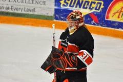 Princeton Goalie Sean Bonar in NCAA Hockey Game Royalty Free Stock Images