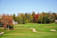 Princeton Golf Course. Shot in fall with red, orange, green colored leaves and blue sky Royalty Free Stock Photography