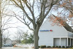 Logo of Bank of America in modern office building in New Jersey. stock photos