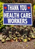 A lawn sign saying Thank You Health Care Workers during the COVID-19 panedemic