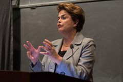 Princeton, NJ, USA - 13. April 2017 - ehemaliger brasilianischer Präsident Dilma Rousseff Stockbild