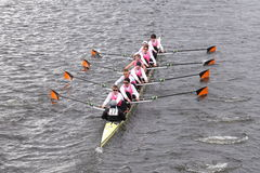 Princeton races in the Head of Charles Regatta Men's Master Eights Royalty Free Stock Photos